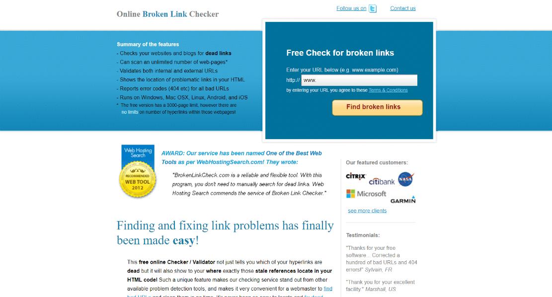 Broken link check tool