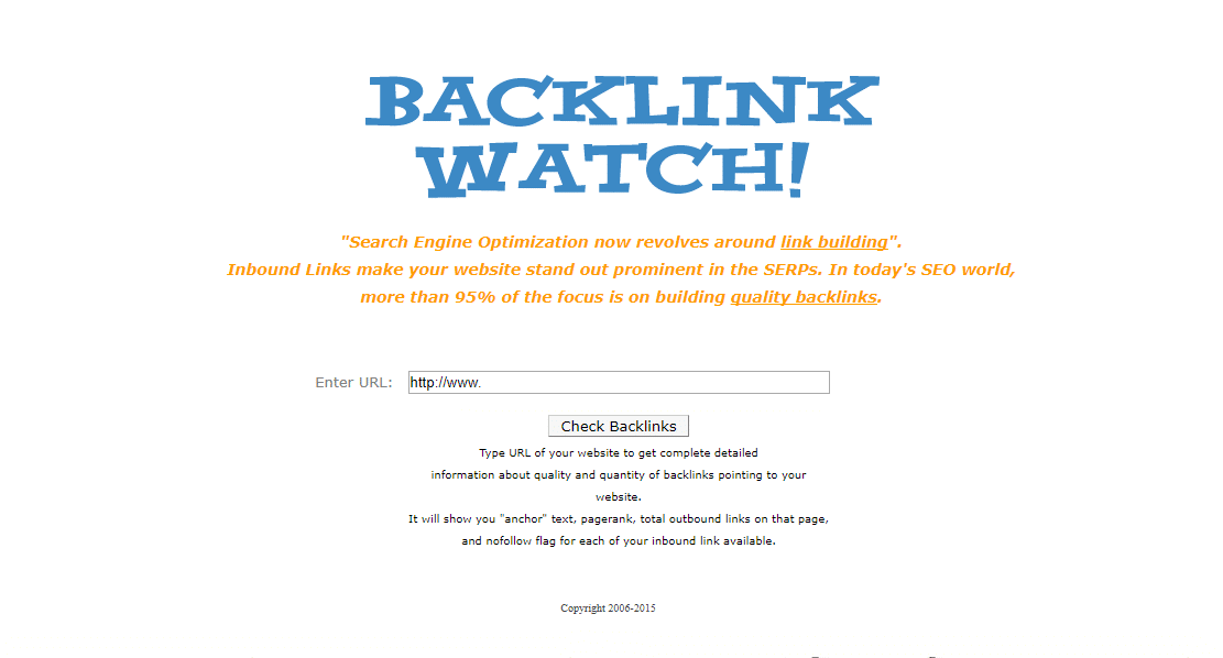 Backlinkwatch Tool