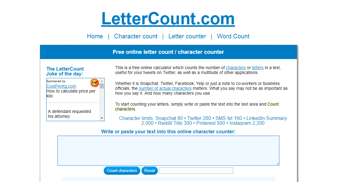 Lettercount Character Count Tool