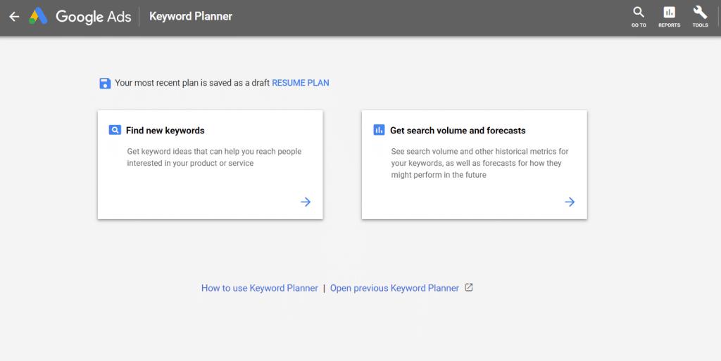 New google keywords planner